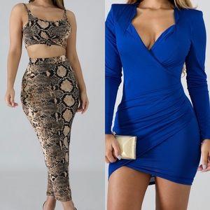 Super cute blue dress and fierce 2 pieces set